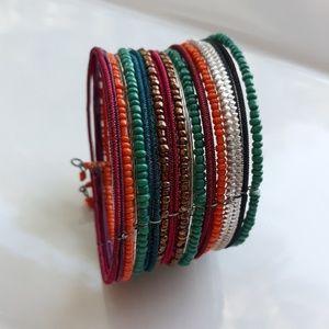 Multi Colored Gypsy Beaded Cuff Bracelet